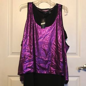 New Double tank sequins purple/ black 3X